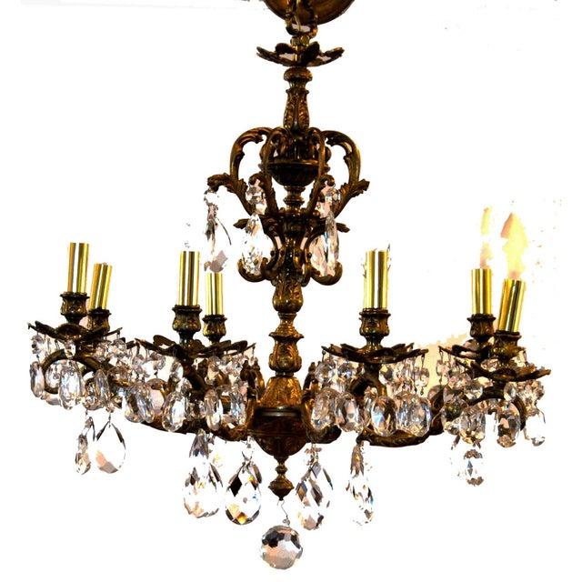Antique Brass Chandelier - Image 4 of 4