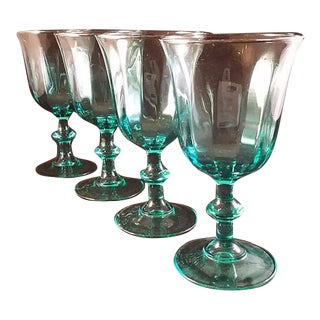 Teal Tinted Luminarc Goblets - Set of 4