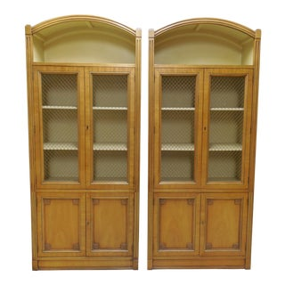 Henredon Wire Mesh Display Cabinets - A Pair