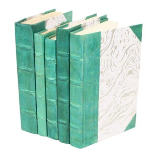 Parchment Collection Teal Books - Set of 5