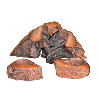 Hand Carved Burlwood Pipe Holders - Set of 3