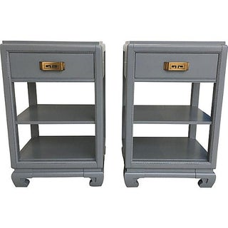 Rway Lacquered Gray Greek Key Nightstands - a Pair