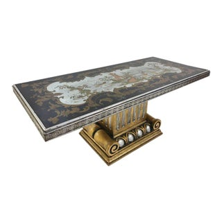 Italian Chinoiserie Mirrored Top Coffee Table