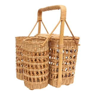 Vintage wicker Picnic and Wine Basket