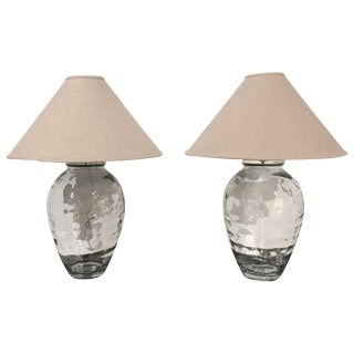 Mid-Century Spanish Clear Glass Lamps - A Pair