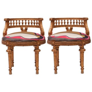 Gilded French Empire Stools in Pucci Silk - A Pair