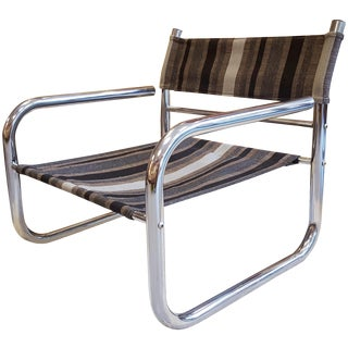 Swedish Chrome Frame Sling Armchair by Overman Ab