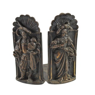 English Royal Court Couple Bookends - Pair