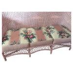 Image of Vintage Pink Wicker Barkcloth Settee Sofa