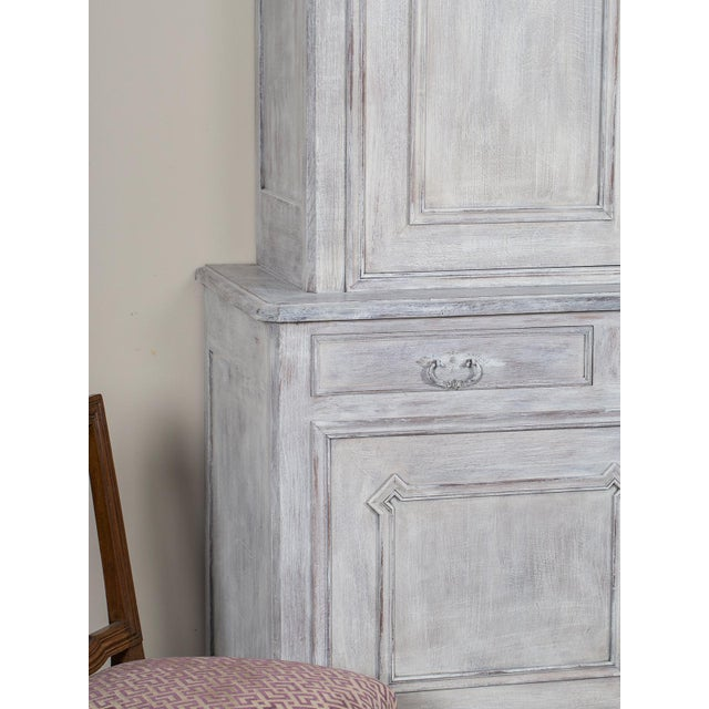 Antique French Painted Oak Louis Philippe Buffet a Deux Corps Cabinet circa 1850 - Image 6 of 11