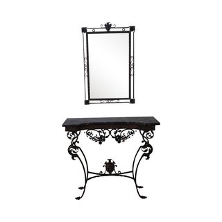 Antique Marble & Cast Iron Console Table & Mirror
