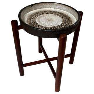 Danish Modern Rosewood & Ceramic Plant Stand