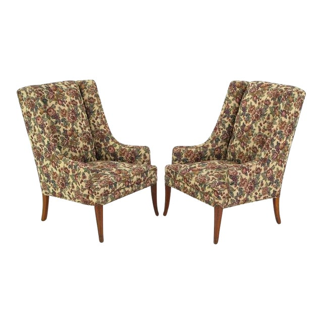 Pair Low-Arm Wing Chairs In Grosfeld House Manner - Image 1 of 9