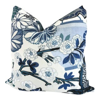 "20"" x 20"" China Blue Schumacher Chiang Mai Dragon Pillow Cover"