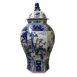 Chinese Blue & White Hexagon Porcelain Temple Jar