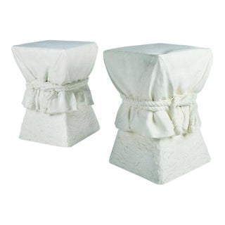 Roped Drapery Pedestal Occasional Tables - a Pair