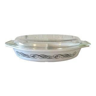 Vintage Pyrex Black Scroll Divided Dish & Lid