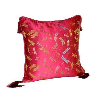 Pink Dragonfly Silk Brocade 16x16 Pillow
