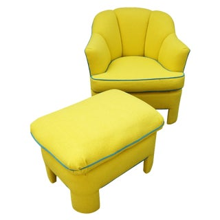 Vintage 80s Yellow Club Chair & Ottoman