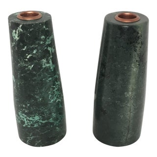 Faux Malachite Candle Holders - A Pair