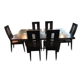 Italy 2000 Modern Dark Wood Dining Set: Table & 6 Chairs