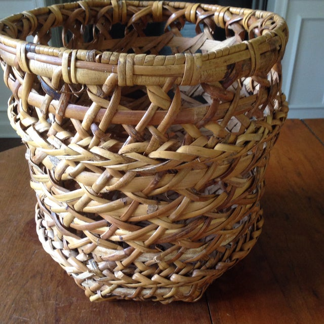 Large Vintage Rattan Planter Basket - Image 9 of 11