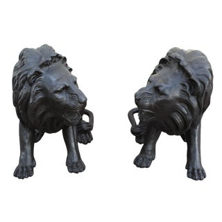 Bronze Lion Statues - A Pair