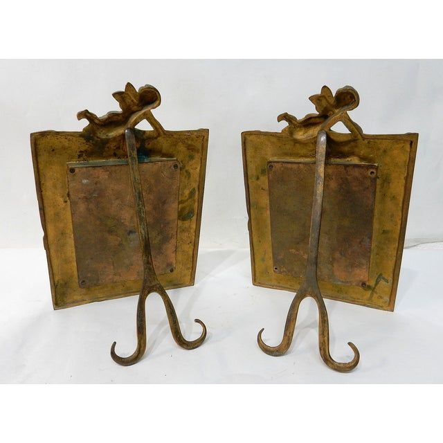 Antique Bronze Cherub Picture Frames - a Pair - Image 5 of 7