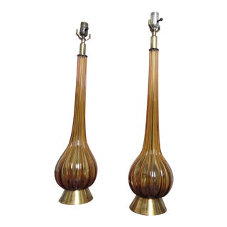Mid-Century Modern Hand Blown Amber Glass Table Lamps - A Pair