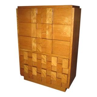 Lane Mid Century Brutalist Highboy Dresser