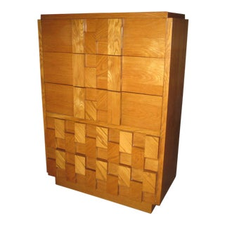 Lane Mid Century Brutalist Highboy Dresser