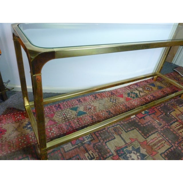 Mastercraft Vintage Brass & Glass Console Table - Image 3 of 11