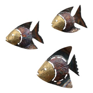 Mid-Century Metal Fish Wall Sculptures - Set of 3