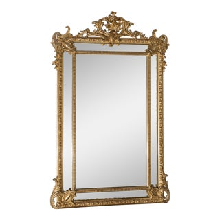 Antique French Gold Leaf Napoleon III Pareclose Mirror circa 1875