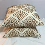 Image of Custom Embroidered Brown Pillows - A Pair