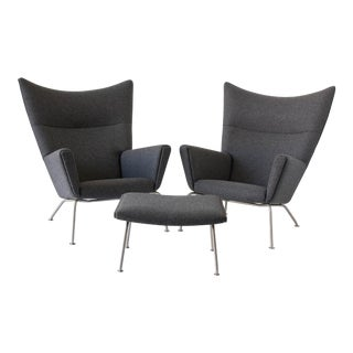 Pair of Hans Wegner CH445 Wingback Chairs with CH446 Ottoman