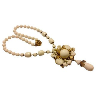 Miriam Haskell Milk Glass Bead Necklace