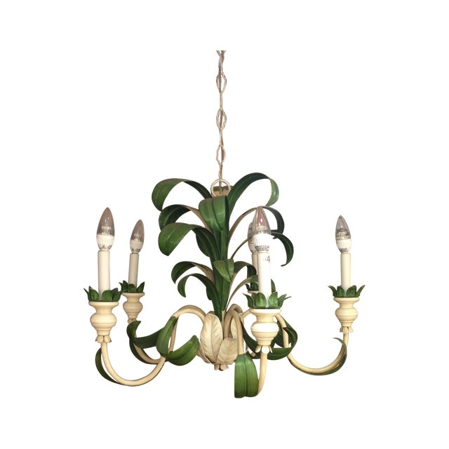 Image of Hand Painted Green French Reproduction Chandelier