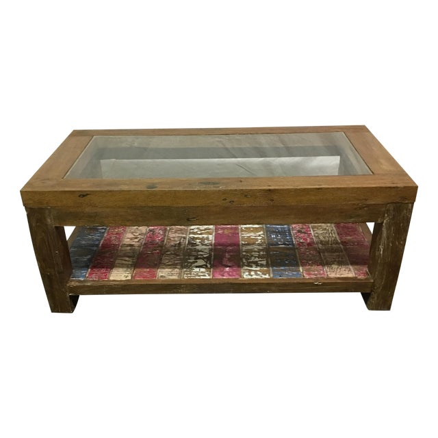 Rustic Whitewashed Coffee Table - Image 1 of 9