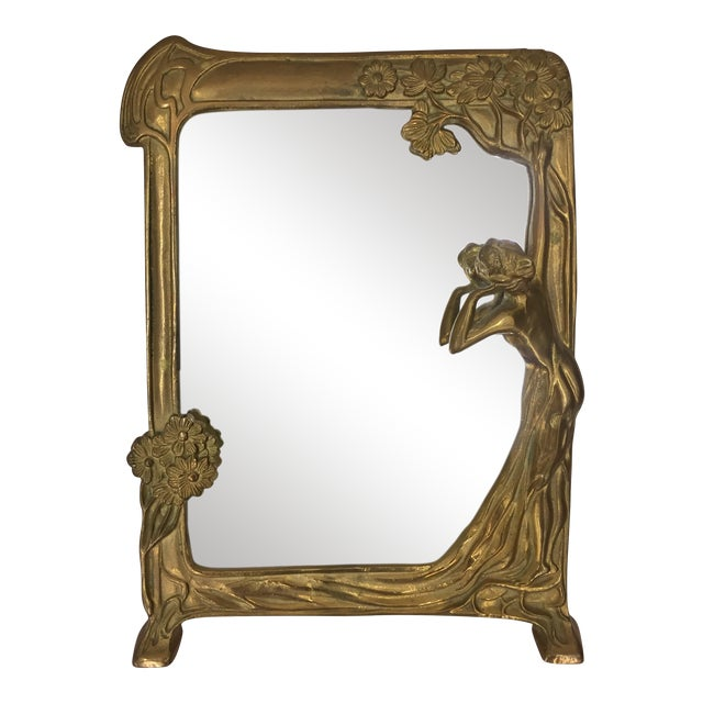 "Art Nouveau Brass Mirror "" Lady by the Lake "" - Image 1 of 8"