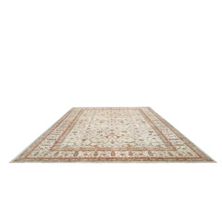 Traditional Hand Made Knotted Rug in Beige Blue and Brick - 11′10″ × 17′7″ - Size Cat. 12x18