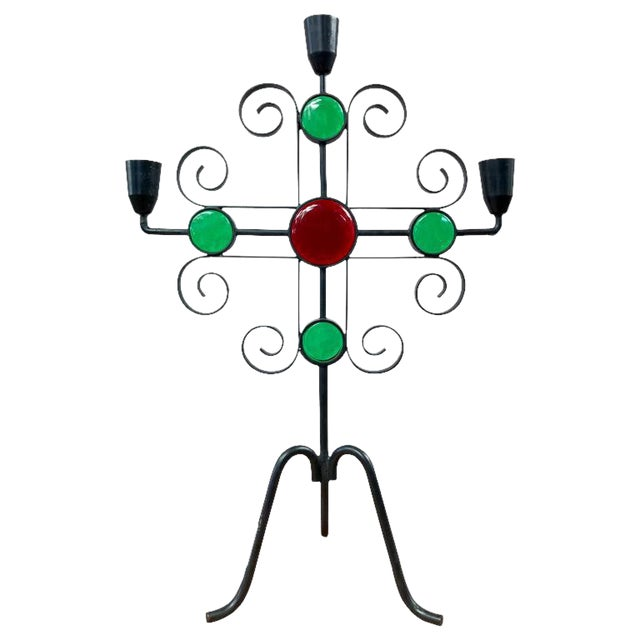 Wrought Iron and Glass Candelabra by Gunnar Ander for