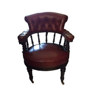 English Embonised Tufted Back Open Arm Chair