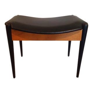 Mid-Century Modern Vinyl Seat Footstool/Bench