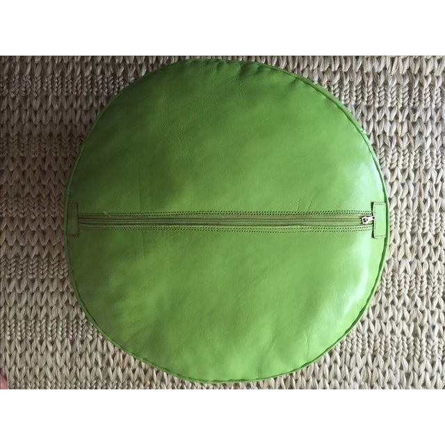 Green Moroccan Leather Pouf - Image 5 of 5