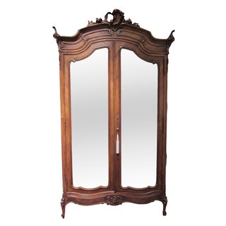 Mirrored Carved Wood Armoire