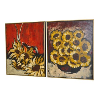 """C. 1960 Mid-Century Carlo of Hollywood """"Sunflowers"""" Oil Paintings - A Pair"""
