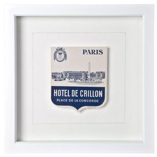 Framed Crillon Paris Hotel Luggage Label