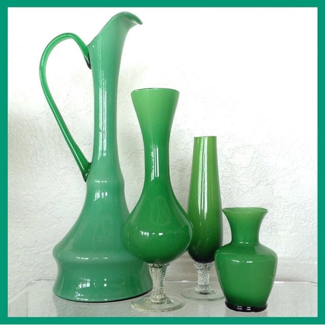 Kelly Green Empoli Vases - Set of 4 - Image 3 of 5