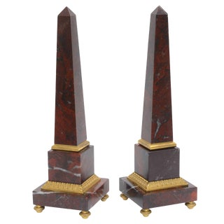 Antico Rosso Marble Obelisks - A Pair